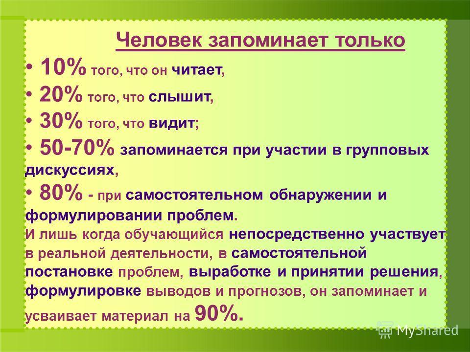 Человек запоминает только 10% того, что он читает, 20% того, что слышит, 30% того, что видит; 50-70% запоминается при участии в групповых дискуссиях, 80% - при самостоятельном обнаружении и формулировании проблем. И лишь когда обучающийся непосредств