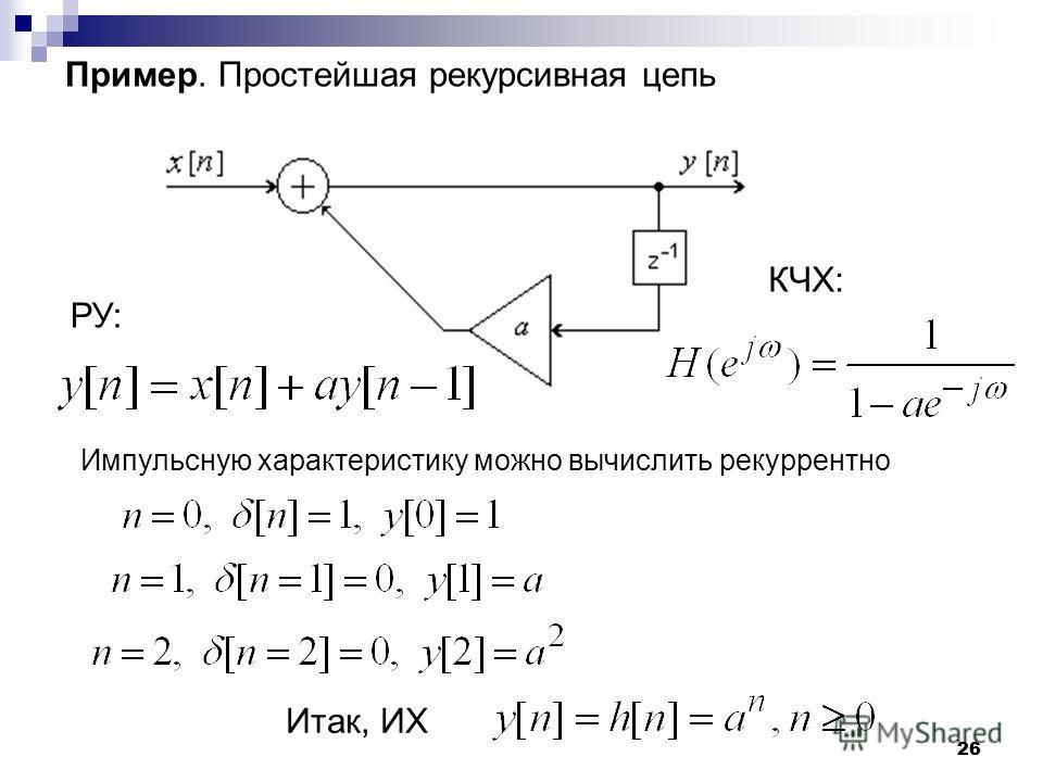 26 Пример. Простейшая рекурсивная цепь РУ: Импульсную характеристику можно вычислить рекуррентно КЧХ: Итак, ИХ