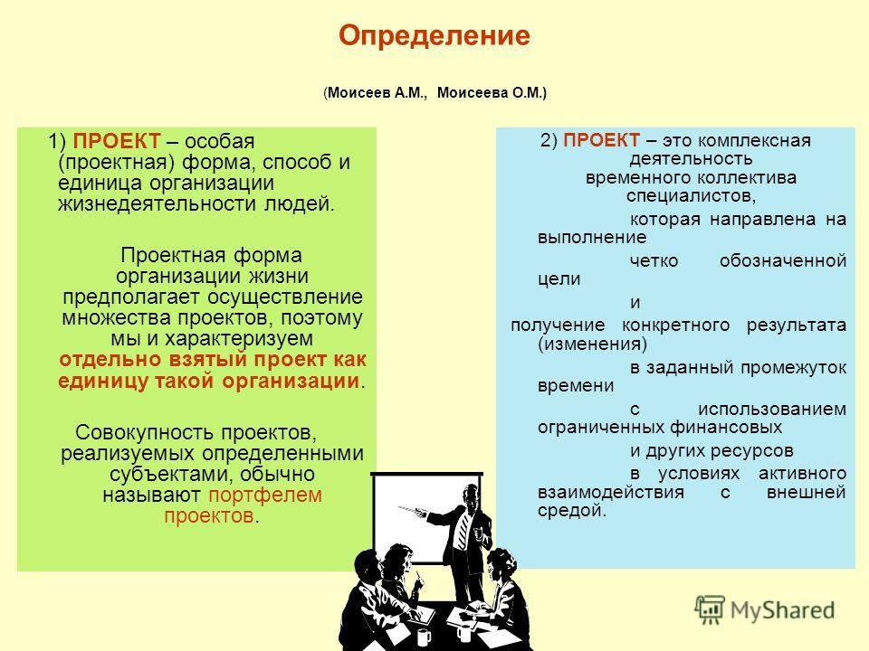 Определение (Моисеев А.М., Моисеева О.М.) 1) ПРОЕКТ – особая (проектная) форма, способ и единица организации жизнедеятельности людей. Проектная форма организации жизни предполагает осуществление множества проектов, поэтому мы и характеризуем отдельно