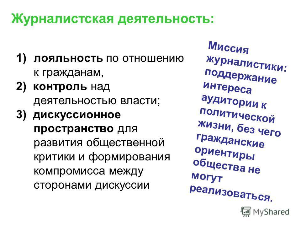 1)лояльность по отношению к гражданам, 2) контроль над деятельностью власти; 3) дискуссионное пространство для развития общественной критики и формирования компромисса между сторонами дискуссии Журналистская деятельность: Миссия журналистики: поддерж