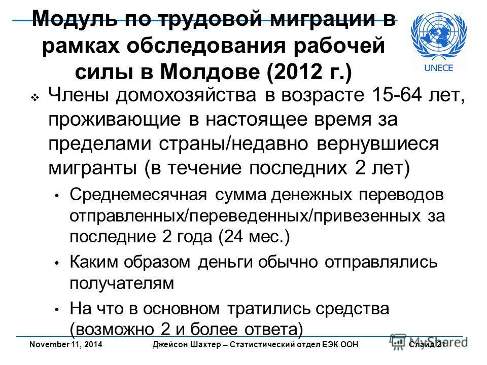 Джейсон Шахтер – Статистический отдел ЕЭК ООН Слайд 21 Модуль по трудовой миграции в рамках обследования рабочей силы в Молдове (2012 г.) Члены домохозяйства в возрасте 15-64 лет, проживающие в настоящее время за пределами страны/недавно вернувшиеся