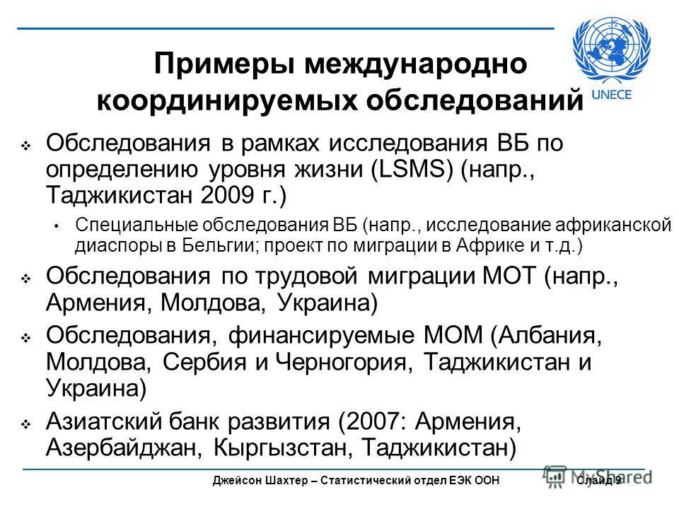 Джейсон Шахтер – Статистический отдел ЕЭК ООН Слайд 9 Примеры международно координируемых обследований Обследования в рамках исследования ВБ по определению уровня жизни (LSMS) (напр., Таджикистан 2009 г.) Специальные обследования ВБ (напр., исследова