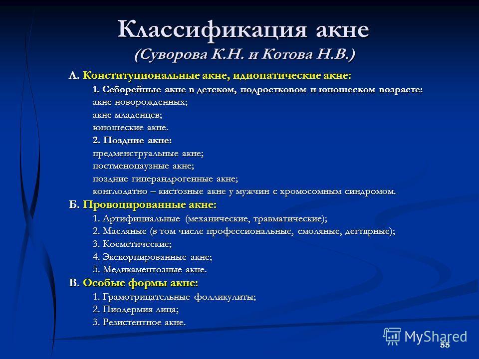 55 Классификация акне (Суворова К.Н. и Котова Н.В.) А. Конституциональные акне, идиопатические акне: 1. Себорейные акне в детском, подростковом и юношеском возрасте: акне новорожденных; акне младенцев; юношеские акне. 2. Поздние акне: предменструальн