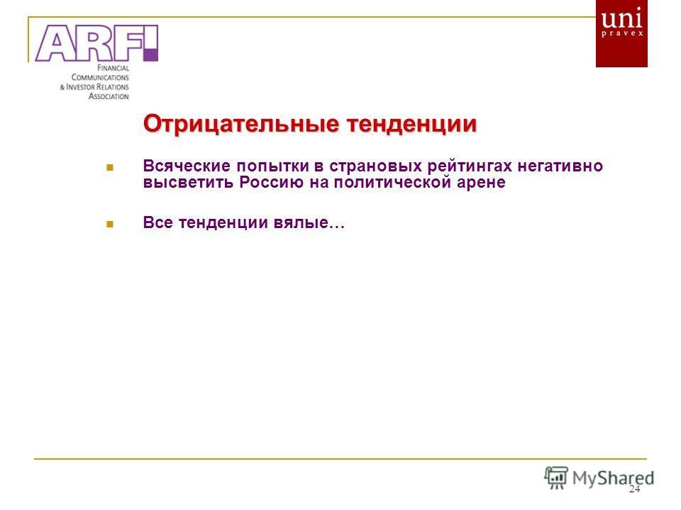 24 Отрицательные тенденции Всяческие попытки в страновых рейтингах негативно высветить Россию на политической арене Все тенденции вялые…