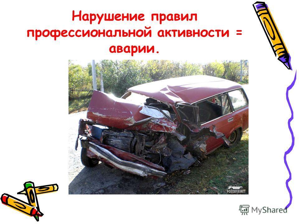 Нарушение правил профессиональной активности = аварии.