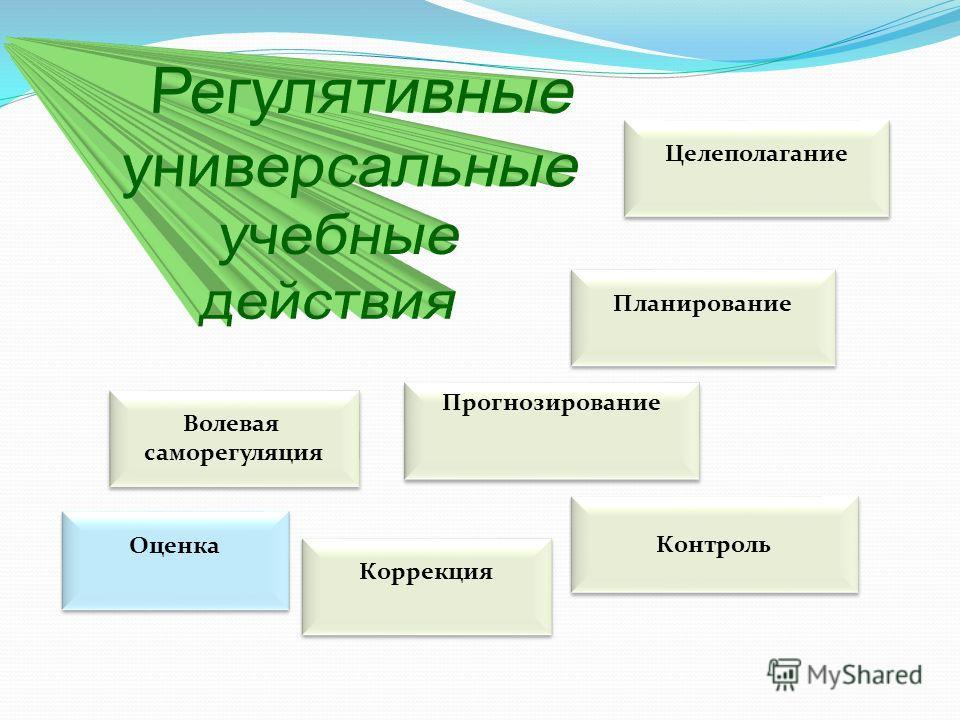 Целеполагание Планирование Контроль Прогнозирование Коррекция Волевая саморегуляция Волевая саморегуляция Оценка