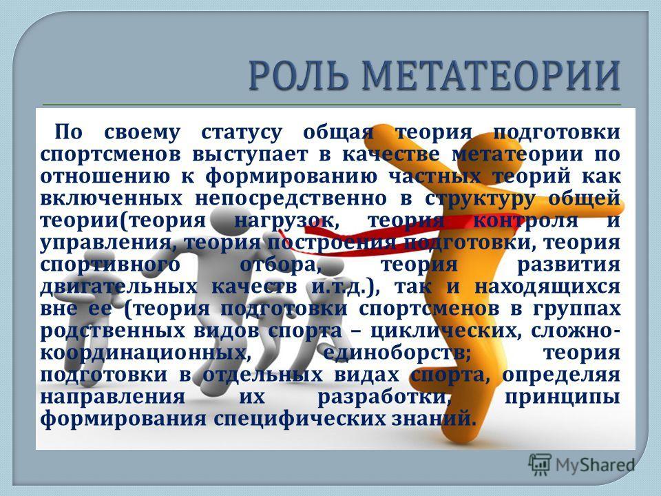 По своему статусу общая теория подготовки спортсменов выступает в качестве метатеории по отношению к формированию частных теорий как включенных непосредственно в структуру общей теории ( теория нагрузок, теория контроля и управления, теория построени