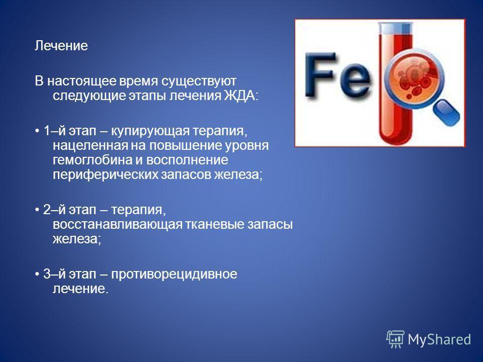 Лечение В настоящее время существуют следующие этапы лечения ЖДА: 1–й этап – купирующая терапия, нацеленная на повышение уровня гемоглобина и восполнение периферических запасов железа; 2–й этап – терапия, восстанавливающая тканевые запасы железа; 3–й