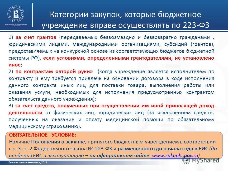 Категории закупок, которые бюджетное учреждение вправе осуществлять по 223-ФЗ Высшая школа экономики, 2014 3 фото 3 1) за счет грантов (передаваемых безвозмездно и безвозвратно гражданами, юридическими лицами, международными организациями, субсидий (