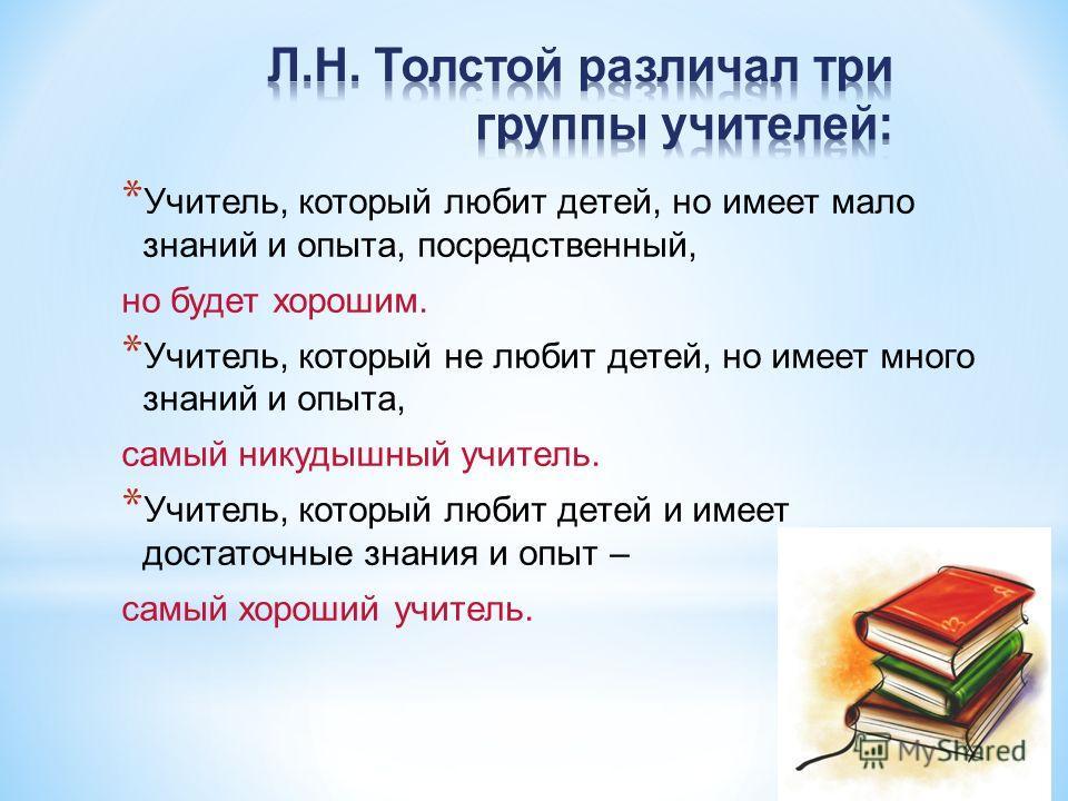 * Учитель, который любит детей, но имеет мало знаний и опыта, посредственный, но будет хорошим. * Учитель, который не любит детей, но имеет много знаний и опыта, самый никудышный учитель. * Учитель, который любит детей и имеет достаточные знания и оп