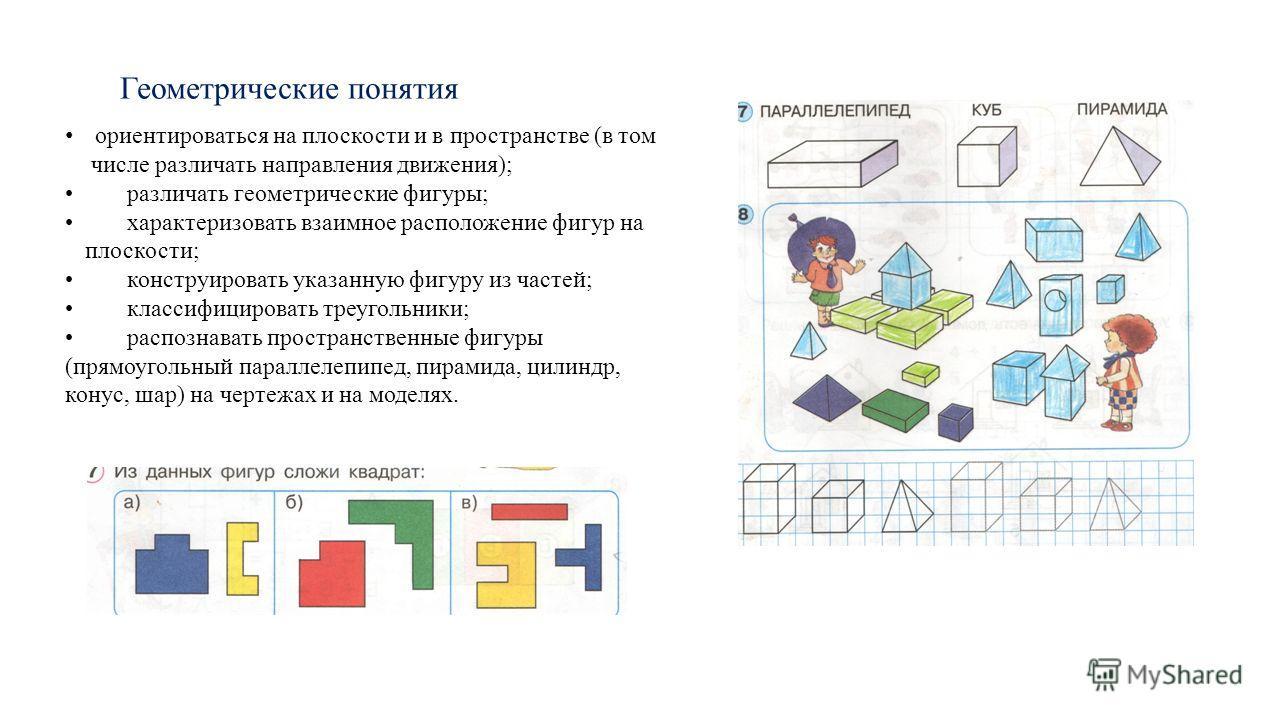 Геометрические понятия ориентироваться на плоскости и в пространстве (в том числе различать направления движения); различать геометрические фигуры; характеризовать взаимное расположение фигур на плоскости; конструировать указанную фигуру из частей; к