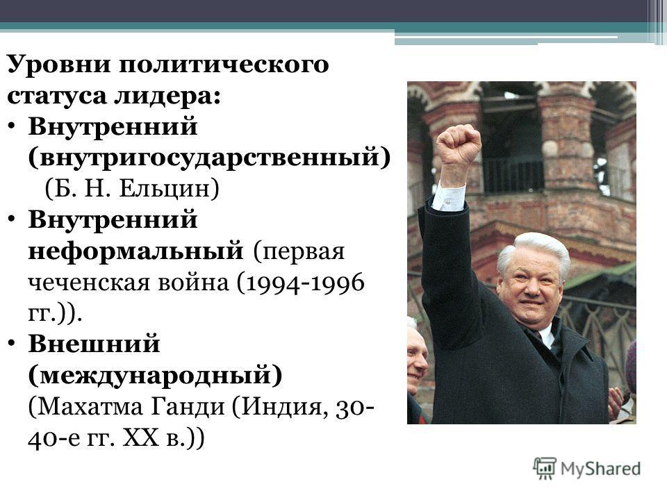 Уровни политического статуса лидера: Внутренний (внутригосударственный) (Б. Н. Ельцин) Внутренний неформальный (первая чеченская война (1994-1996 гг.)). Внешний (международный) (Махатма Ганди (Индия, 30- 40-е гг. XX в.))