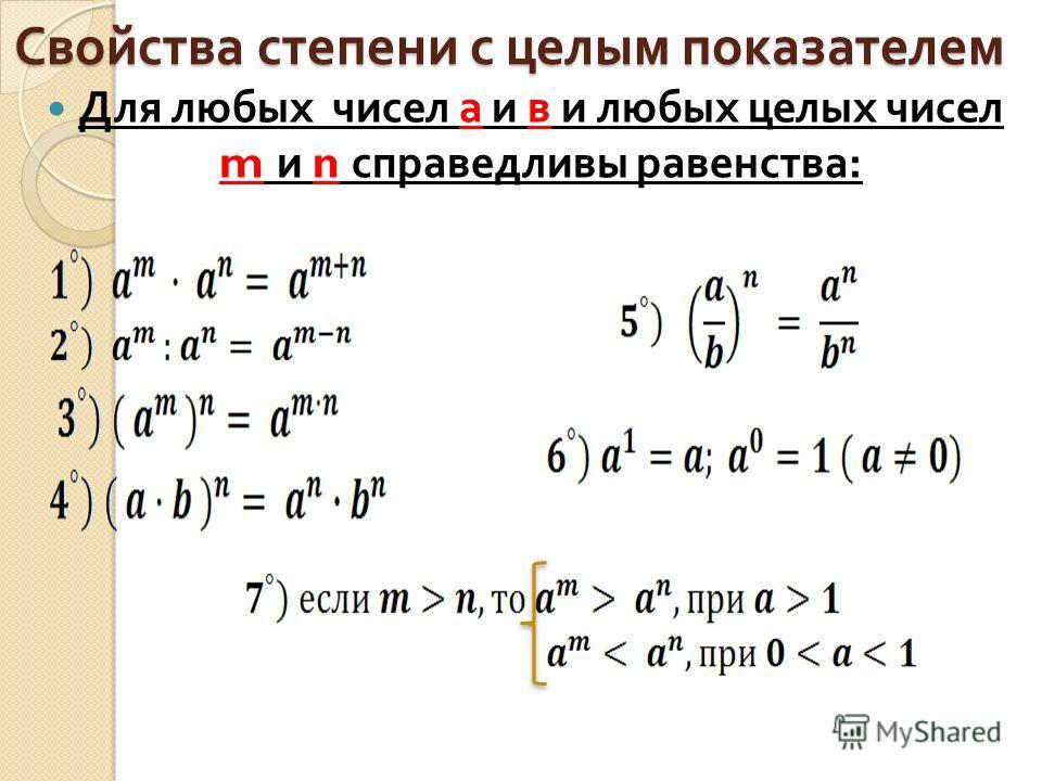 Свойства степени с целым показателем Для любых чисел а и в и любых целых чисел m и n справедливы равенства :