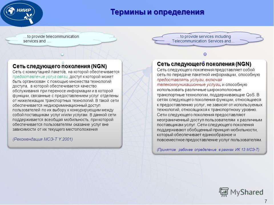 Термины и определения Сеть следующего поколения (NGN) Сеть следующего поколения (NGN) Сеть с коммутацией пакетов, на которой обеспечивается предоставление услуг связи, доступ к которой может быть организован с помощью множества технологий доступа, в