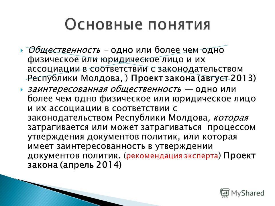 Общественность - одно или более чем одно физическое или юридическое лицо и их ассоциации в соответствии с законодательством Республики Молдова, ) Проект закона (август 2013) заинтересованная общественность одно или более чем одно физическое или юриди