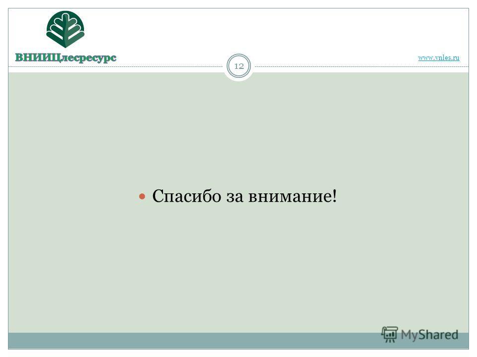 12 Спасибо за внимание! www.vnles.ru