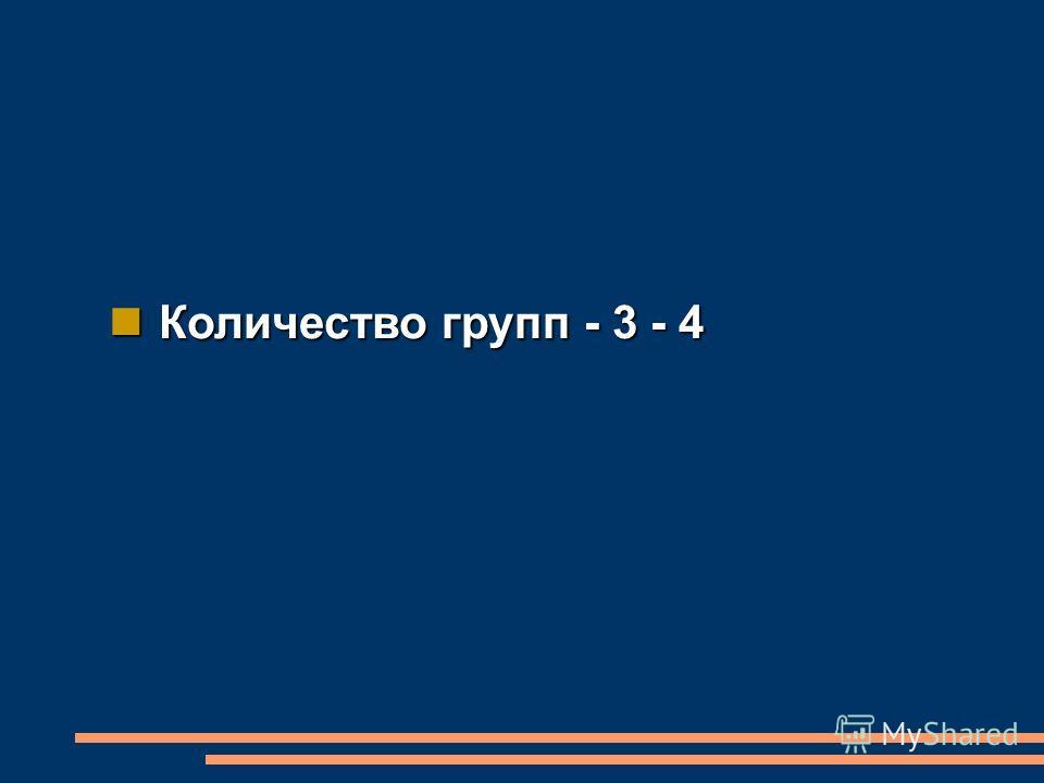 Количество групп - 3 - 4 Количество групп - 3 - 4