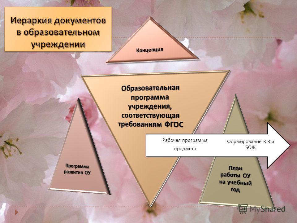 Формирование К З и БОЖ Рабочая программа предмета