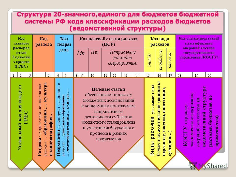 Структура 20-значного,единого для бюджетов бюджетной системы РФ кода классификации расходов бюджетов (ведомственной структуры) Код главного распоряд ителя бюджетны х средств (ГРБС) Код раздела Код подраз дела Код целевой статьи расхода (ЦСР) Код вида