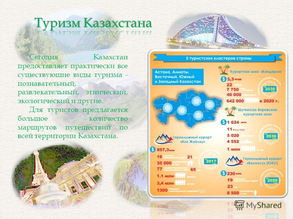 Сегодня Казахстан предоставляет практически все существующие виды туризма - познавательный, развлекательный, этнический, экологический и другие. Для туристов предлагается большое количество маршрутов путешествий по всей территории Казахстана.