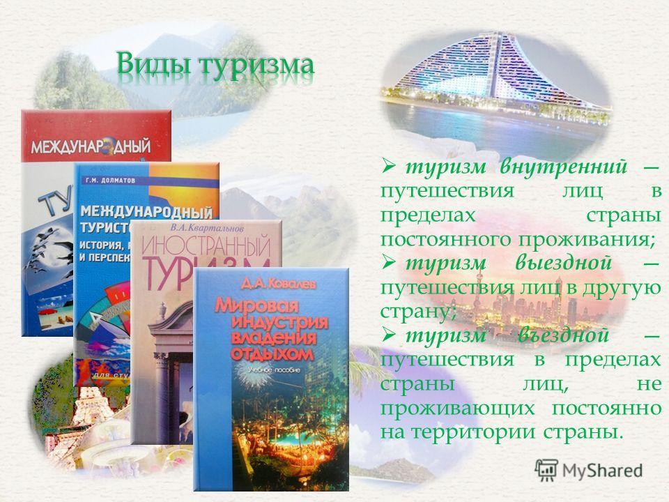 туризм внутренний путешествия лиц в пределах страны постоянного проживания; туризм выездной путешествия лиц в другую страну; туризм въездной путешествия в пределах страны лиц, не проживающих постоянно на территории страны.