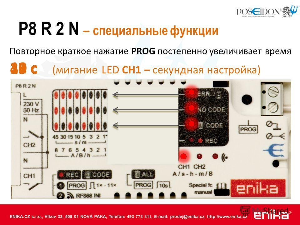 P8 R 2 N – специальные функции 1 с Повторное краткое нажатие PROG постепенно увеличивает время 2 с 3 с 5 с 10 с 15 с 30 с 45 с (мигание LED CH1 – секундная настройка)