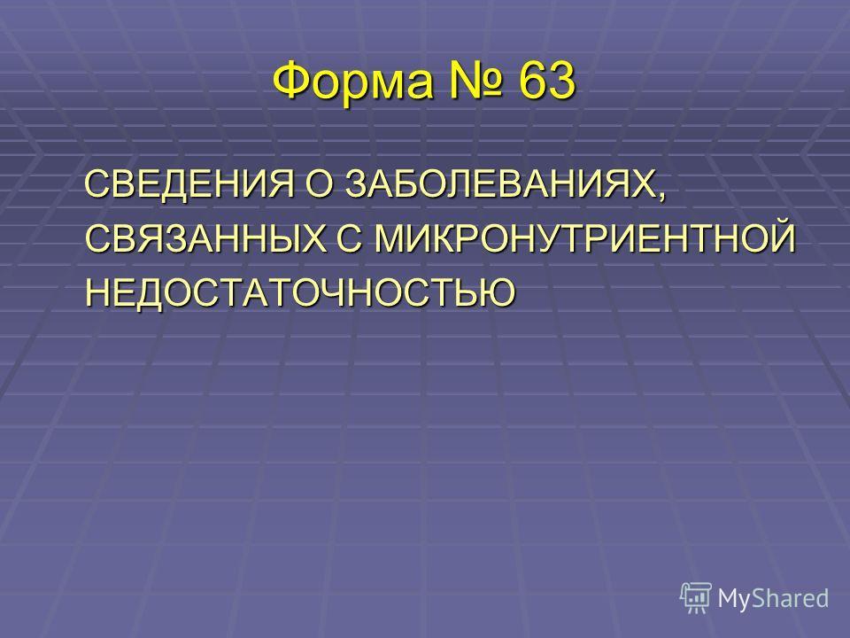 Форма 63 СВЕДЕНИЯ О ЗАБОЛЕВАНИЯХ, СВЯЗАННЫХ С МИКРОНУТРИЕНТНОЙ НЕДОСТАТОЧНОСТЬЮ СВЕДЕНИЯ О ЗАБОЛЕВАНИЯХ, СВЯЗАННЫХ С МИКРОНУТРИЕНТНОЙ НЕДОСТАТОЧНОСТЬЮ