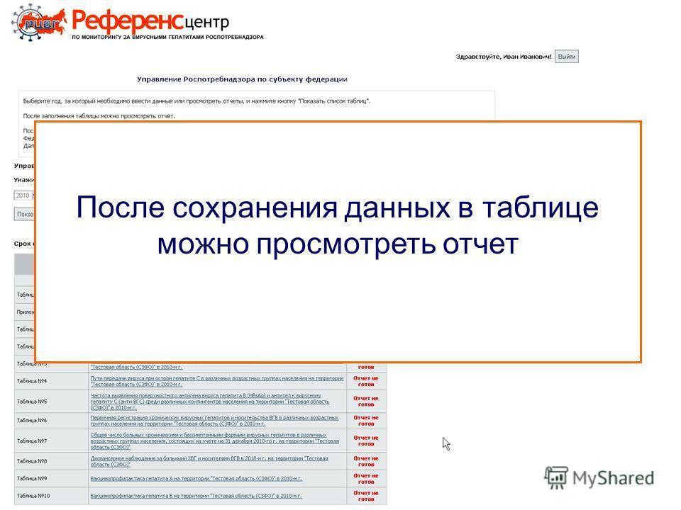 После сохранения данных в таблице можно просмотреть отчет