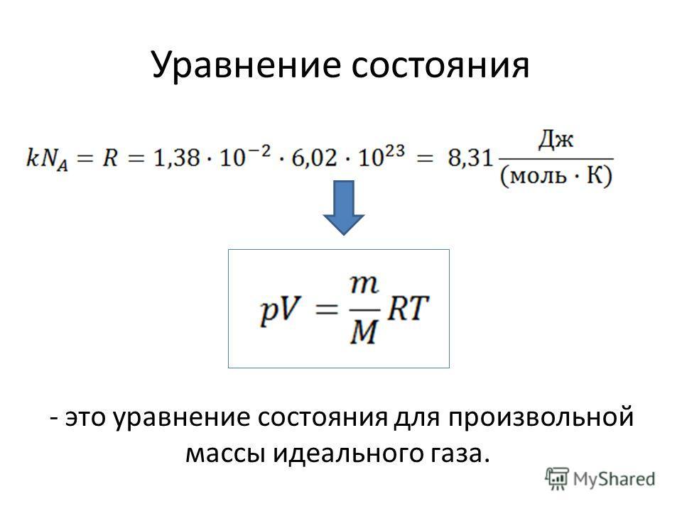 Уравнение состояния - это уравнение состояния для произвольной массы идеального газа.