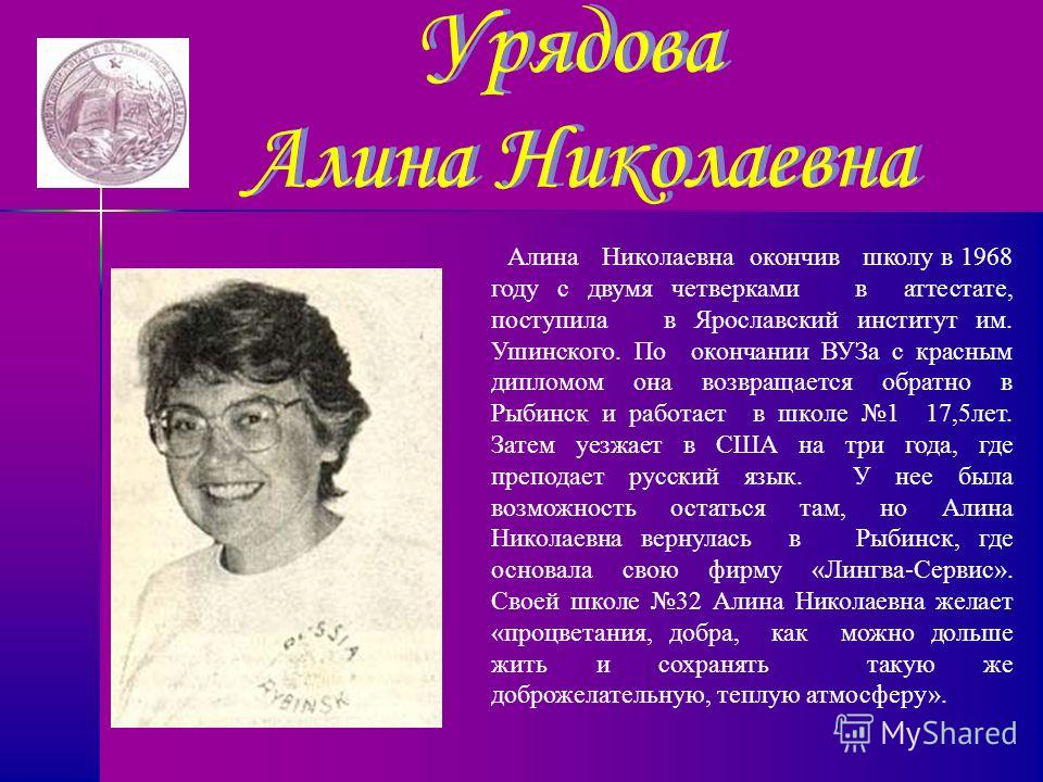 Урядова Алина Николаевна Алина Николаевна окончив школу в 1968 году с двумя четверками в аттестате, поступила в Ярославский институт им. Ушинского. По окончании ВУЗа с красным дипломом она возвращается обратно в Рыбинск и работает в школе 1 17,5 лет.