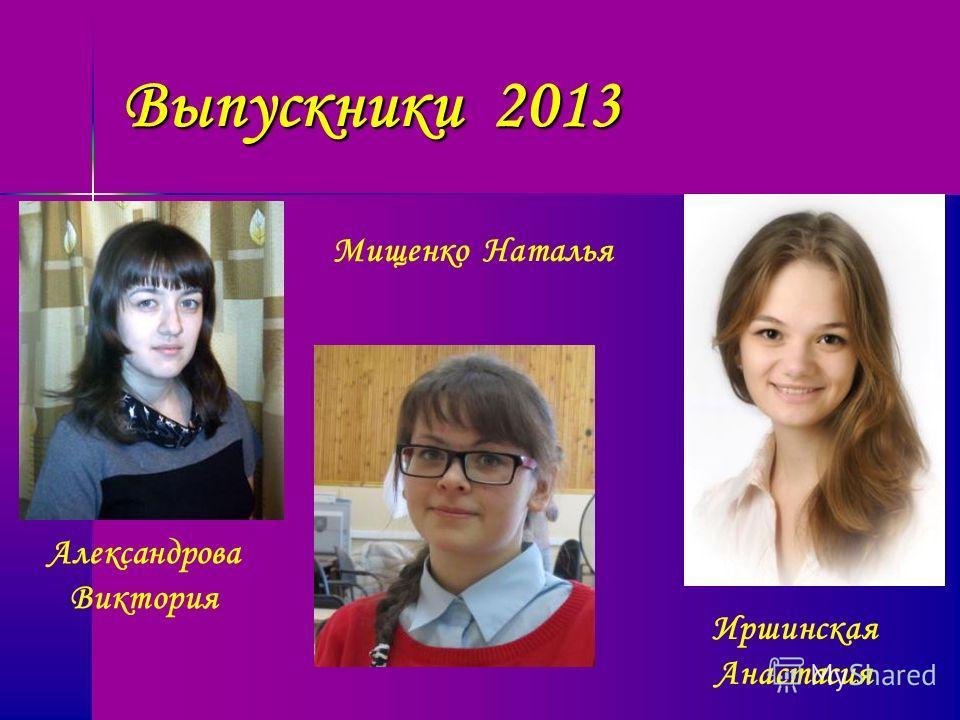Выпускники 2013 Александрова Виктория Мищенко Наталья Иршинская Анастасия