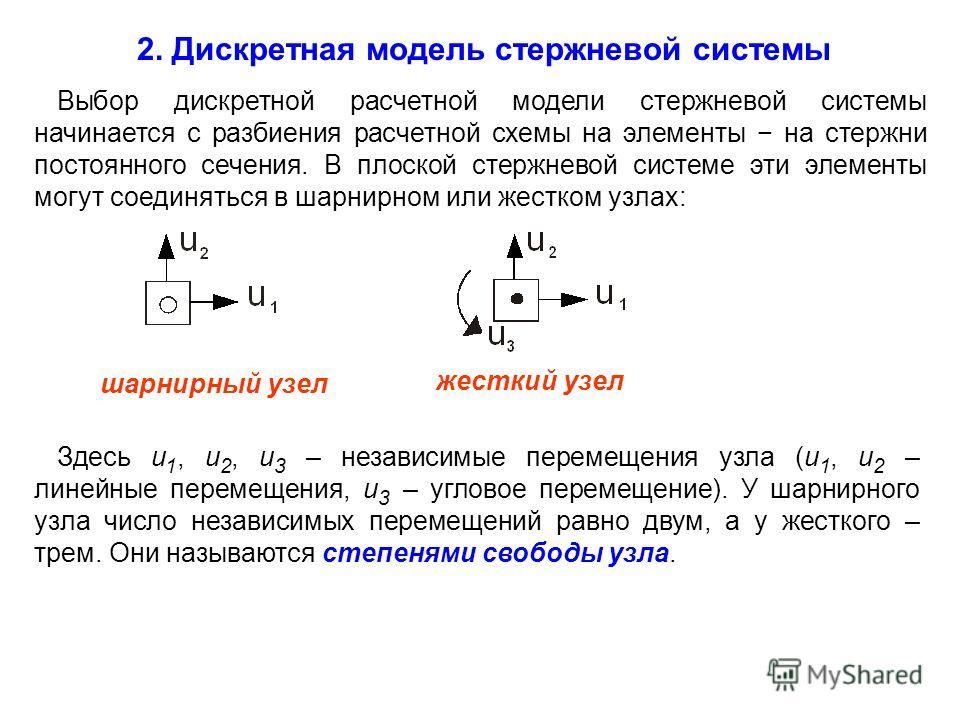 2. Дискретная модель стержневой системы Выбор дискретной расчетной модели стержневой системы начинается с разбиения расчетной схемы на элементы на стержни постоянного сечения. В плоской стержневой системе эти элементы могут соединяться в шарнирном ил