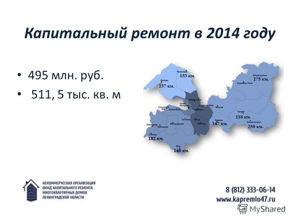 Капитальный ремонт в 2014 году 495 млн. руб. 511, 5 тыс. кв. м