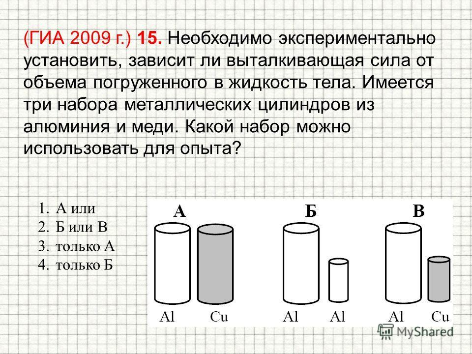 (ГИА 2009 г.) 15. Необходимо экспериментально установить, зависит ли выталкивающая сила от объема погруженного в жидкость тела. Имеется три набора металлических цилиндров из алюминия и меди. Какой набор можно использовать для опыта? 1. А или 2. Б или