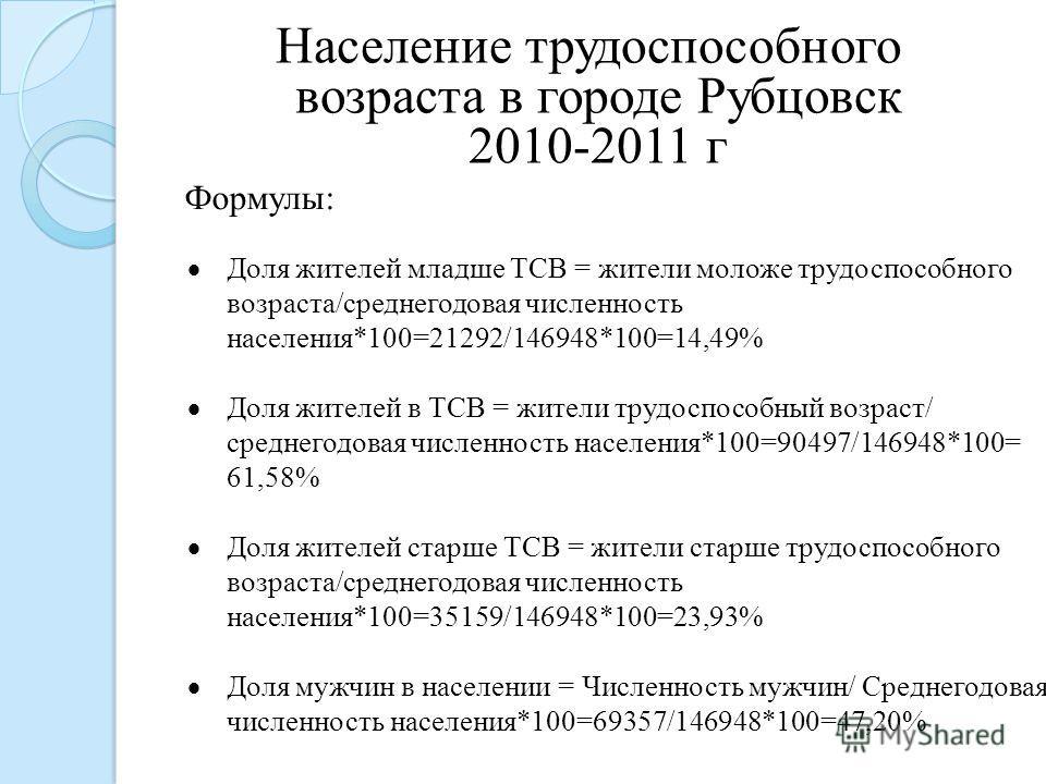 Формулы: Население трудоспособного возраста в городе Рубцовск 2010-2011 г Доля жителей младше ТСВ = жители моложе трудоспособного возраста/среднегодовая численность населения*100=21292/146948*100=14,49% Доля жителей в ТСВ = жители трудоспособный возр