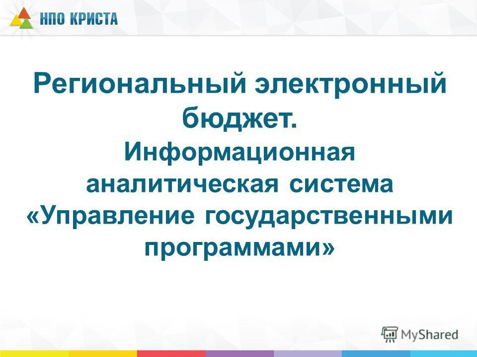 Региональный электронный бюджет. Информационная аналитическая система «Управление государственными программами»