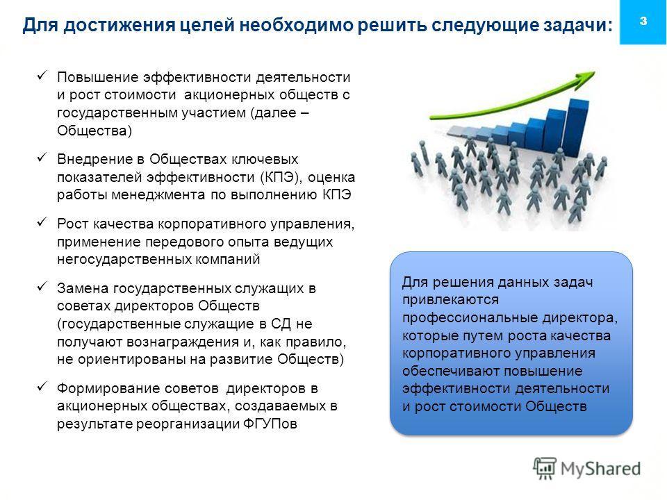Для достижения целей необходимо решить следующие задачи: 3 Повышение эффективности деятельности и рост стоимости акционерных обществ с государственным участием (далее – Общества) Внедрение в Обществах ключевых показателей эффективности (КПЭ), оценка
