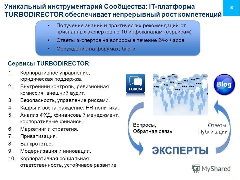 8 Уникальный инструментарий Сообщества: IT-платформа TURBODIRECTOR обеспечивает непрерывный рост компетенций 1. Корпоративное управление, юридическая поддержка. 2. Внутренний контроль, ревизионная комиссия, внешний аудит. 3.Безопасность, управление р