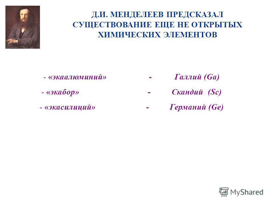 Д.И. МЕНДЕЛЕЕВ ПРЕДСКАЗАЛ СУЩЕСТВОВАНИЕ ЕЩЕ НЕ ОТКРЫТЫХ ХИМИЧЕСКИХ ЭЛЕМЕНТОВ - «экаалюминий» - Галлий (Ga) - «экабор» - Скандий (Sc) - «экасилиций» - Германий (Ge)