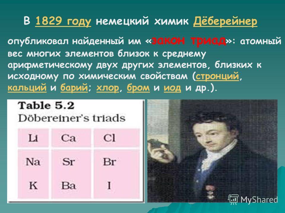 К середине XIX века были открыты 63 химических элемента, и попытки найти закономерности в этом наборе предпринимались неоднократноXIX века