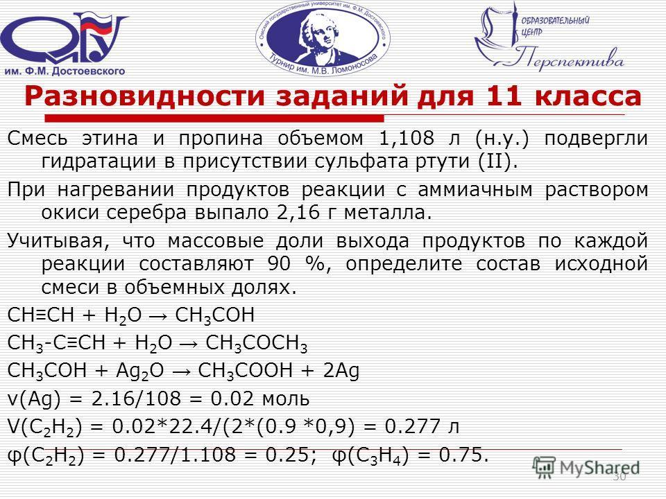 Разновидности заданий для 11 класса Смесь этина и пропина объемом 1,108 л (н.у.) подвергли гидратации в присутствии сульфата ртути (II). При нагревании продуктов реакции с аммиачным раствором окиси серебра выпало 2,16 г металла. Учитывая, что массовы