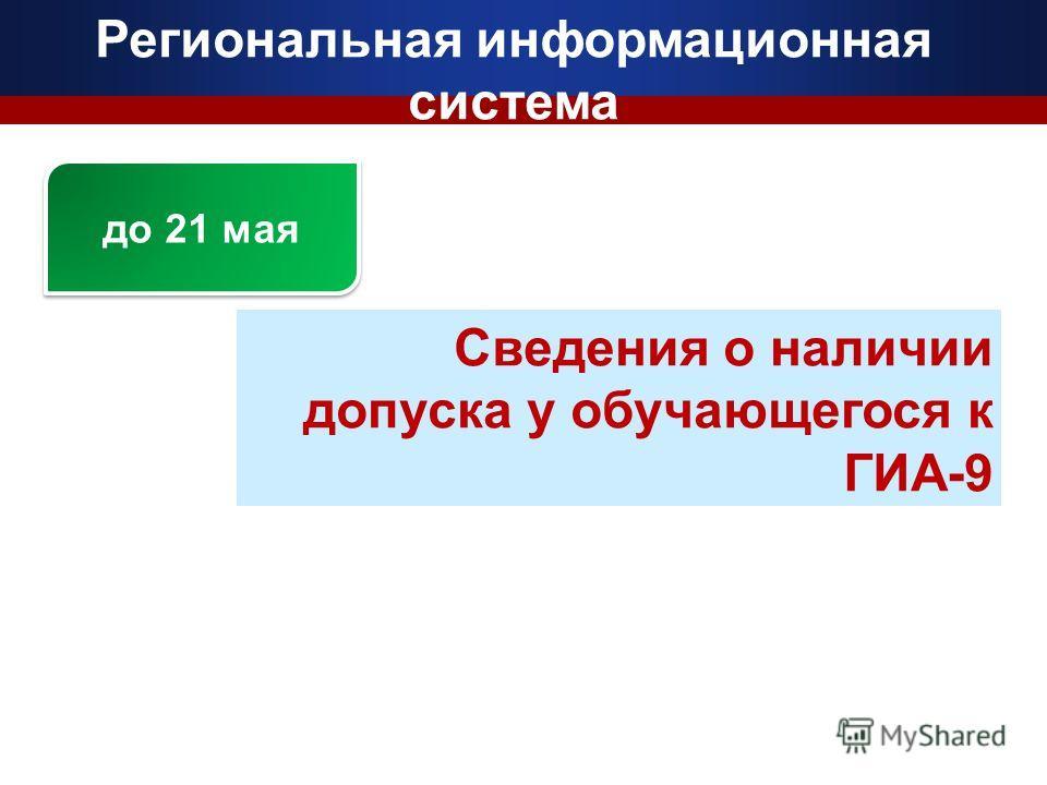 Региональная информационная система Сведения о наличии допуска у обучающегося к ГИА-9 до 21 мая