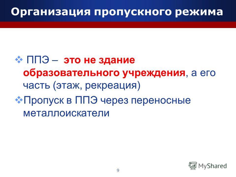 Организация пропускного режима ППЭ – это не здание образовательного учреждения, а его часть (этаж, рекреация) Пропуск в ППЭ через переносные металлоискатели 9
