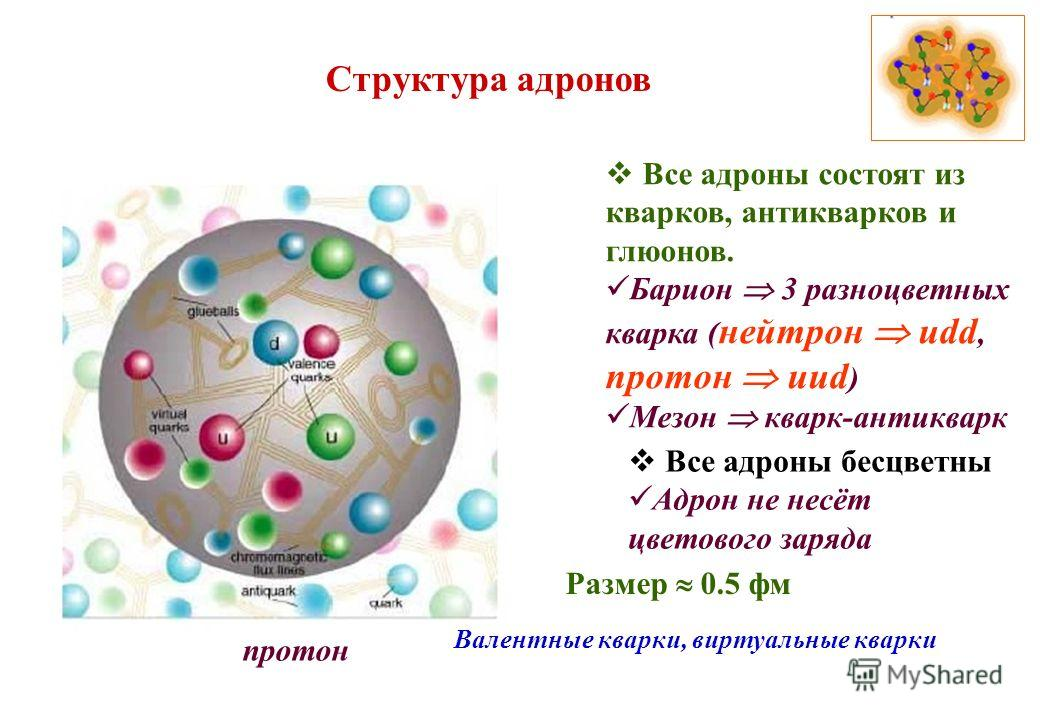 Структура адронов Все адроны состоят из кварков, антикварков и глюонов. Барион 3 разноцветных кварка ( нейтрон udd, протон uud ) Мезон кварк-антикварк Все адроны бесцветны Адрон не несёт цветового заряда протон Валентные кварки, виртуальные кварки Ра