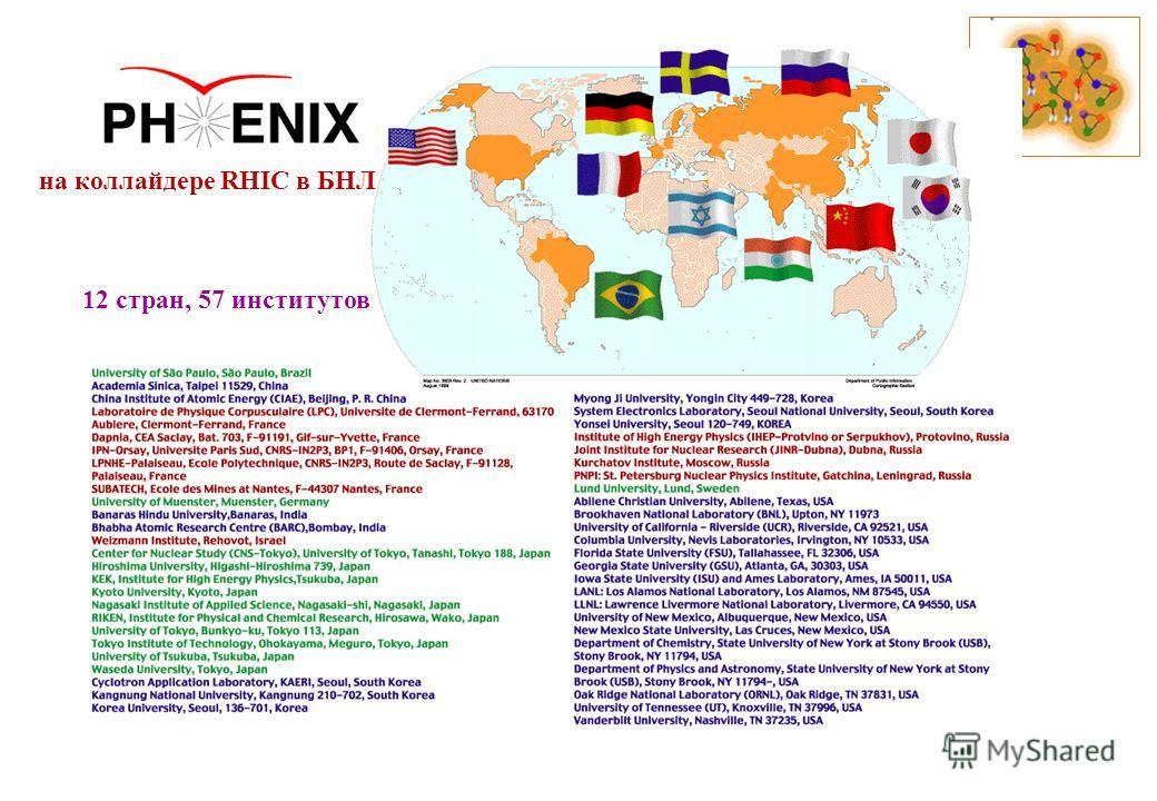 12 стран, 57 институтов на коллайдере RHIC в БНЛ