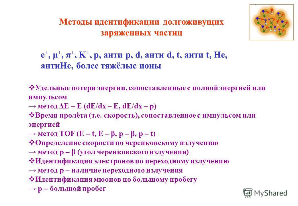 Методы идентификации долгоживущих заряженных частиц Удельные потери энергии, сопоставленные с полной энергией или импульсом метод ΔE – E (dE/dx – E, dE/dx – p) Время пролёта (т.е. скорость), сопоставленное с импульсом или энергией метод TOF (E – t, E