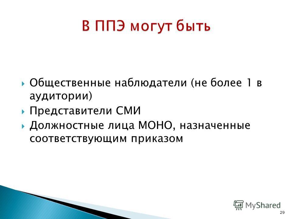 29 Общественные наблюдатели (не более 1 в аудитории) Представители СМИ Должностные лица МОНО, назначенные соответствующим приказом