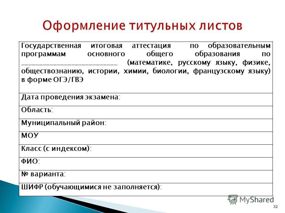 Государственная итоговая аттестация по образовательным программам основного общего образования по ___________________________ (математике, русскому языку, физике, обществознанию, истории, химии, биологии, французскому языку) в форме ОГЭ/ГВЭ Дата пров