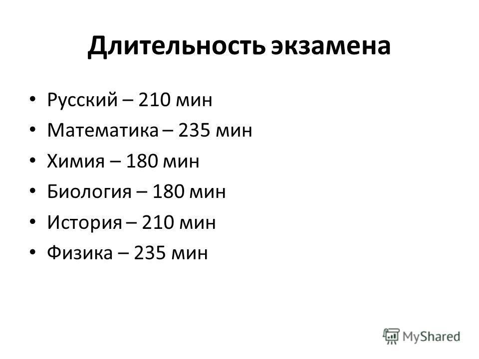 Длительность экзамена Русский – 210 мин Математика – 235 мин Химия – 180 мин Биология – 180 мин История – 210 мин Физика – 235 мин