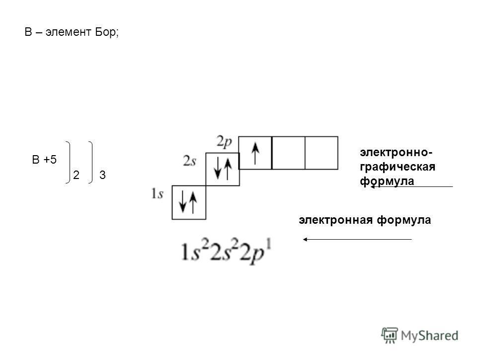 В – элемент Бор; В +5 23 электронно- графическая формула электронная формула